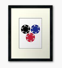 Poker chips gambling Framed Print