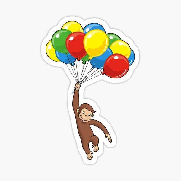 Neugieriger George mit Luftballons Sticker