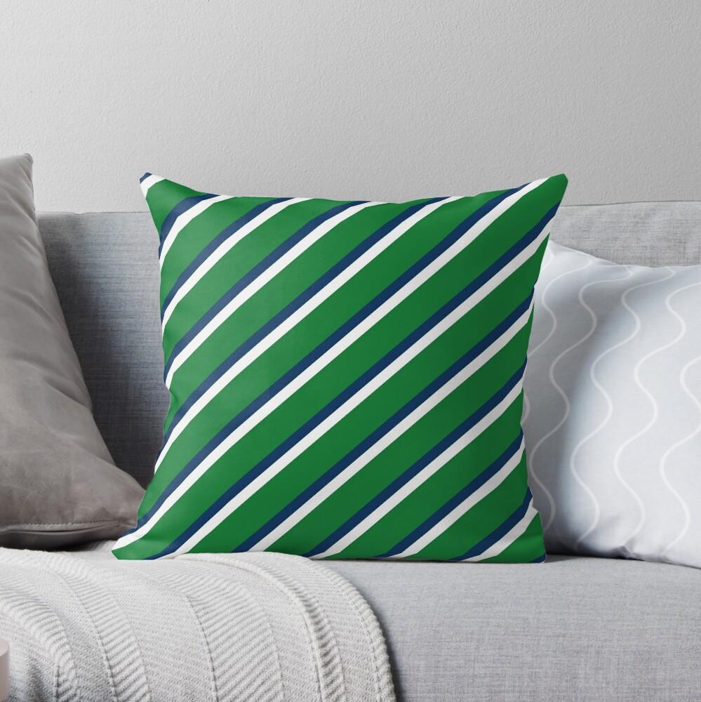 Preppy Green Blue White Diagonal Throw Pillow