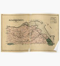 Vintage Map of Alexandria County Virginia (1878) Poster