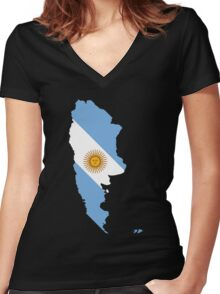 Argentina Flag Map Women's Fitted V-Neck T-Shirt