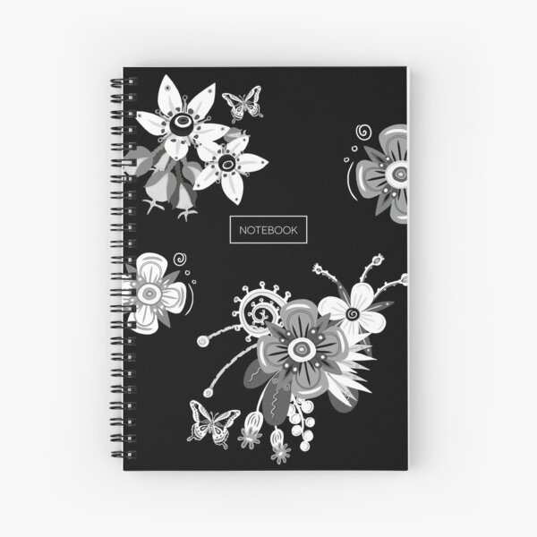 Black and White Flowers Spiral Notebook