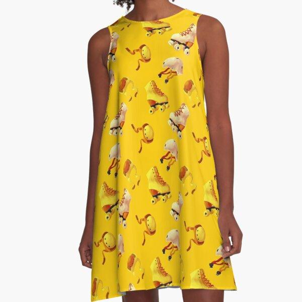 Lemon Bright Yellow Roller Skates A-Line Dress