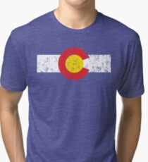 Vintage Colorado Flag Tri-blend T-Shirt