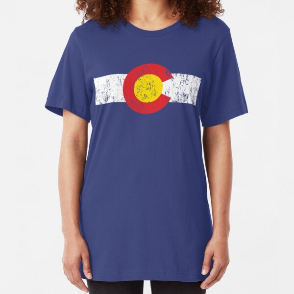 Vintage Colorado Flag Slim Fit T-Shirt
