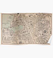 Vintage Map of Marseille France (1896) Poster
