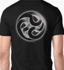 Tomoe, Japanese, Shinto symbol, 3D Blend, ON BLACK T-Shirt