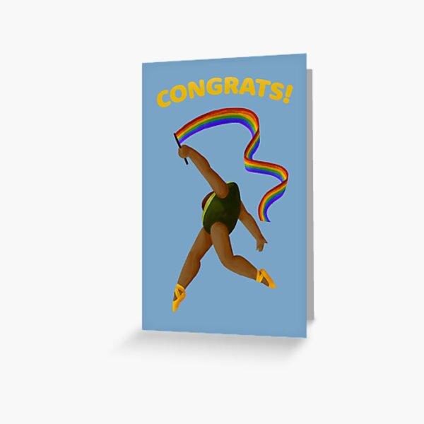Congrats! Avocado Ballerina with Ribbon Greeting Card
