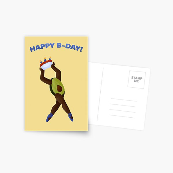 Happy B-Day Avocado Dancing with Cake Postcard