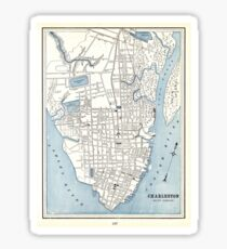 Vintage Map of Charleston South Carolina (1898) Sticker