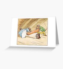 Mice rolling a cat by Beatrix Potter Greeting Card