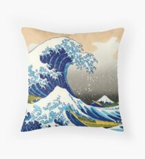 Katsushika Hokusai - The Great Wave of Kanagawa Throw Pillow