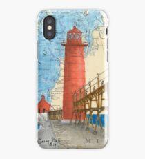 Grand Haven Lighthouse MI Nautical Map Cathy Peek iPhone Case