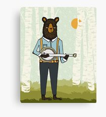 Banjo Bear by Paper Sparrow Canvas Print