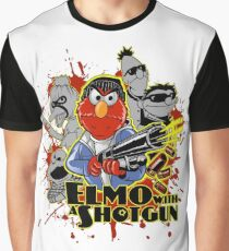 Elmo With Shotgun Graphic T-Shirt