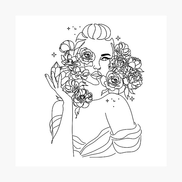 Woman face with Flowers. Line art female with peony and roses. One line drawing. Portrait minimalistic style. Botanical print. Nature symbol of cosmetics.  Photographic Print