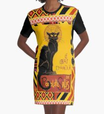 Le Chat D'Amour With Ethnic Coloured Border Graphic T-Shirt Dress