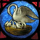 Pelican in Her Piety Stained Glass Window by Kawka