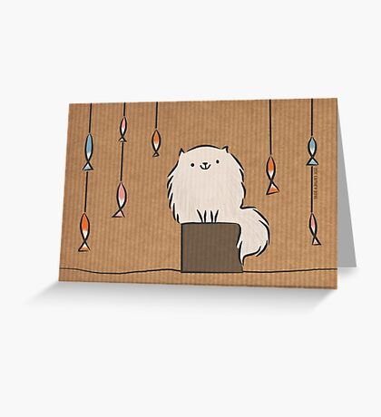 Fluffy Cat with Colourful Fish Greeting Card