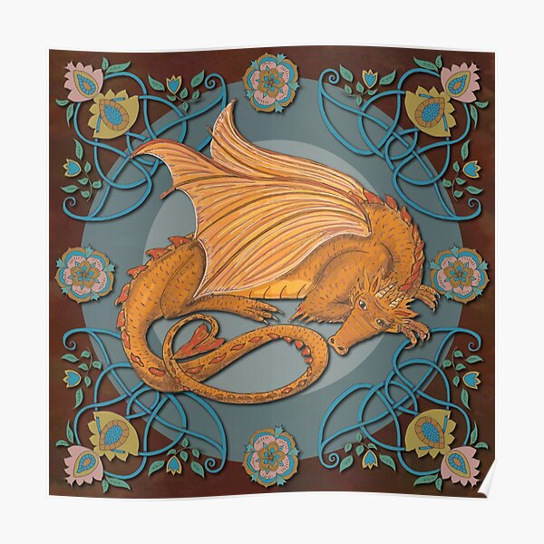 Celtic Medieval Earth Dragon Poster