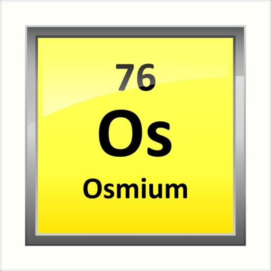 Osmium Periodic Table Element Symbol Art Prints By Sciencenotes