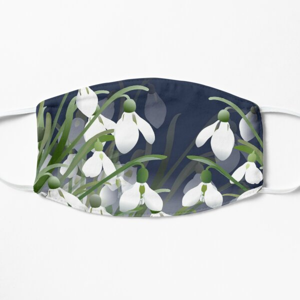 Spring Snowdrops - White Flowers Flat Mask
