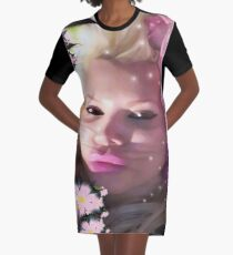 Pink Rose Lady Graphic T-Shirt Dress
