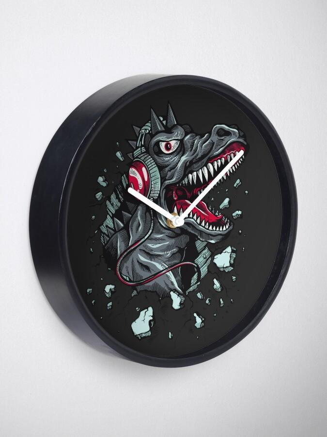 Alternative Ansicht von Dino with Headphone Uhr