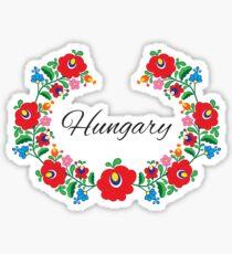 Kalocsai Wreath - Hungary (Black Text) Sticker