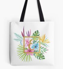 Tropical Floral With Gold Initial E Tote Bag