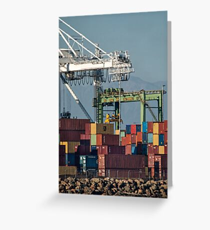 Stacked cargo in the port Greeting Card
