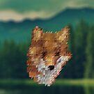 small fox triangular pixels by amadreamart