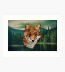 small fox triangular pixels Art Print