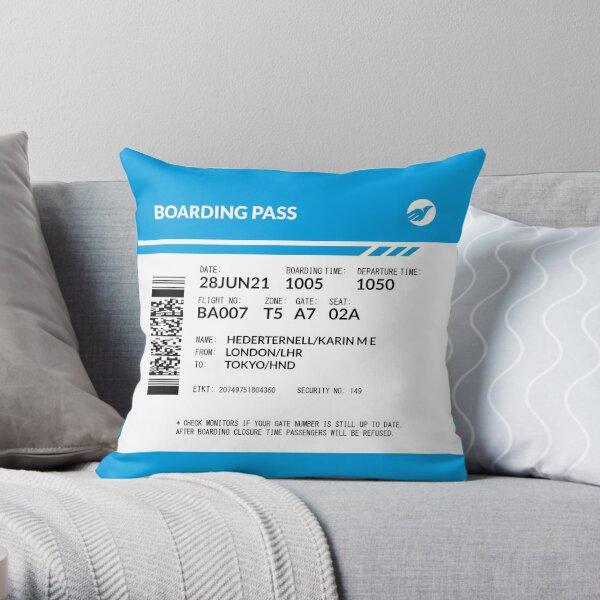 Boarding Pass Pillow (5748x5748 px) (KHE) Throw Pillow