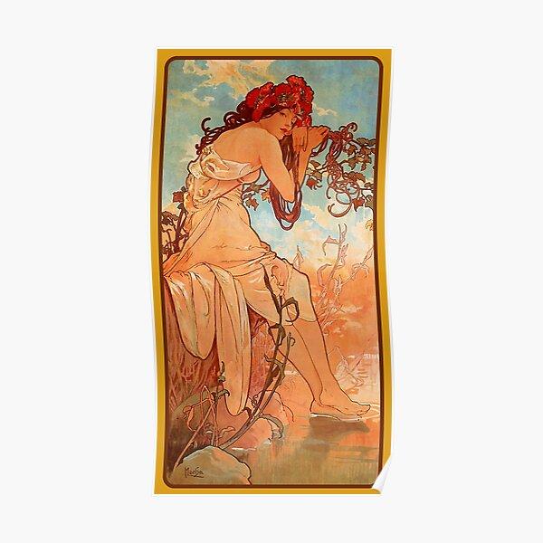MUCHA. Alphonse Mucha, SUMMER, 1896, ART NOUVEAU POSTER. Poster