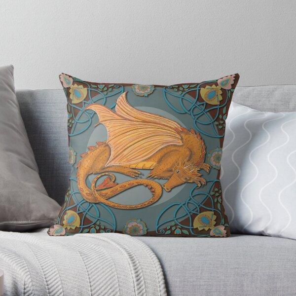 Celtic Medieval Earth Dragon Throw Pillow
