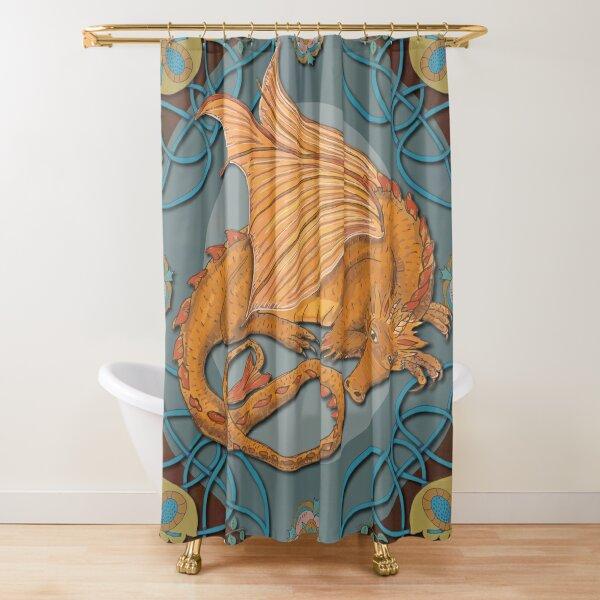Celtic Medieval Earth Dragon Shower Curtain