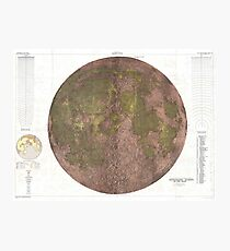 Vintage Map of The Moon (1961) 2 Photographic Print
