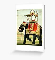 Vintage Decorated Elephant With Howdah Painting Greeting Card
