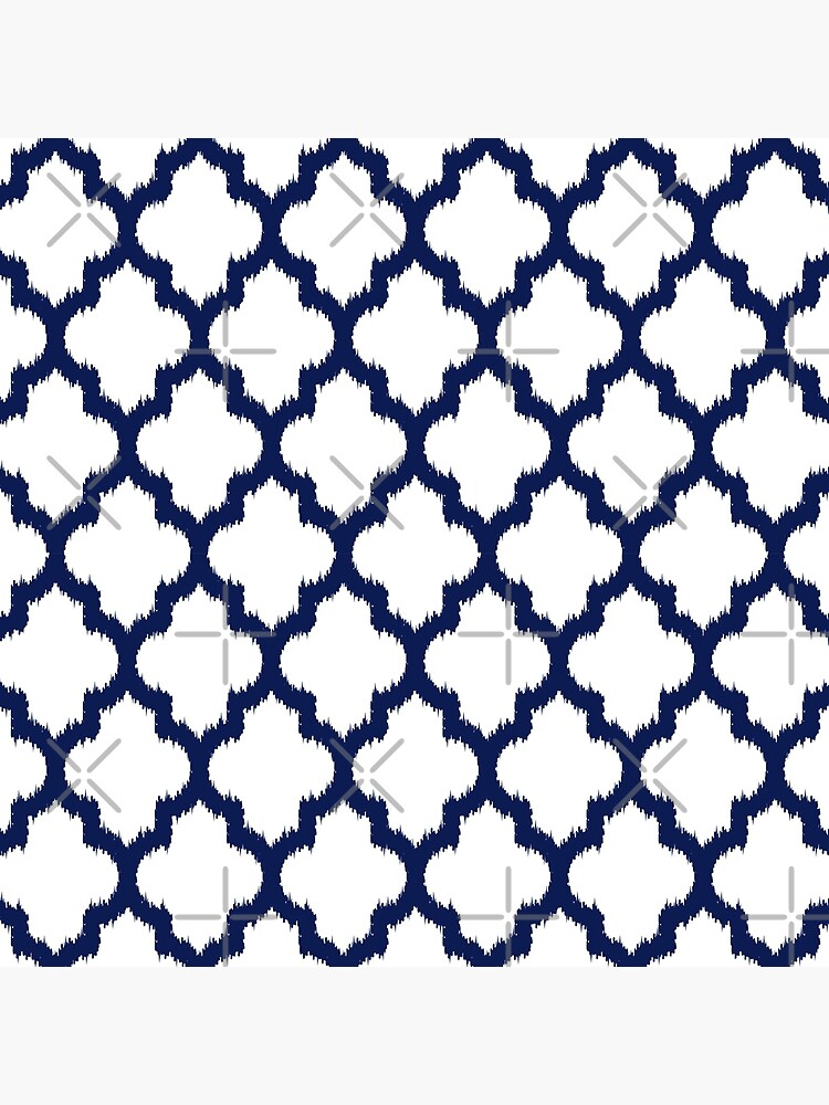 Navy blue and white quatrefoil ikat style by artonwear