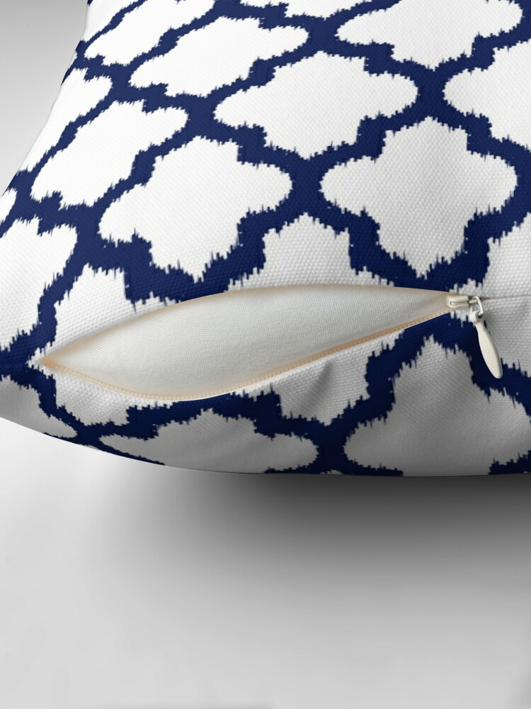 Alternate view of Navy blue and white quatrefoil ikat style Throw Pillow