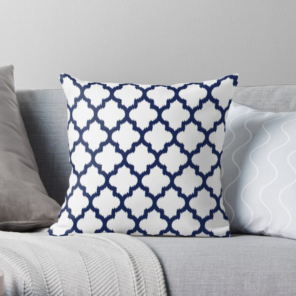 Navy blue and white quatrefoil ikat style Throw Pillow