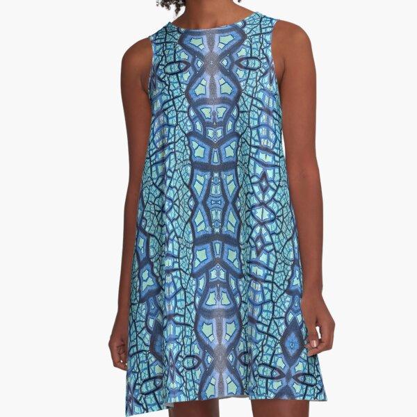 Peeling Paint Mandala-style Mosaic Pattern - Blue Jade - Vicki Hadfield A-Line Dress