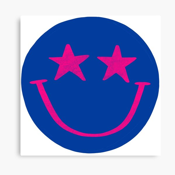 Blue and Hot Pink Star Smiley Face Canvas Print
