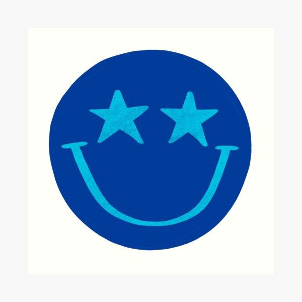Blue and Aqua Star Smiley Face Art Print