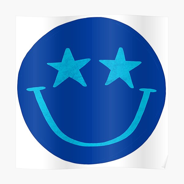 Blue and Aqua Star Smiley Face Poster