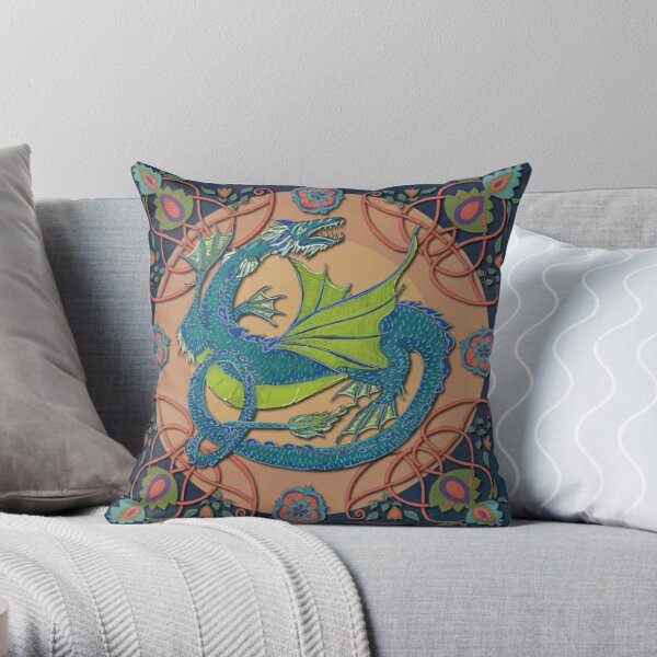 Celtic Medieval Water Dragon Throw Pillow
