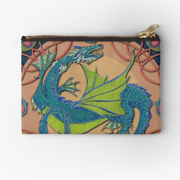 Celtic Medieval Water Dragon Zipper Pouch