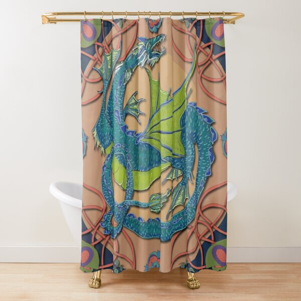 Celtic Medieval Water Dragon Shower Curtain