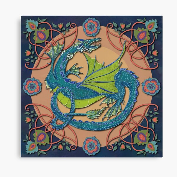 Celtic Medieval Water Dragon Canvas Print